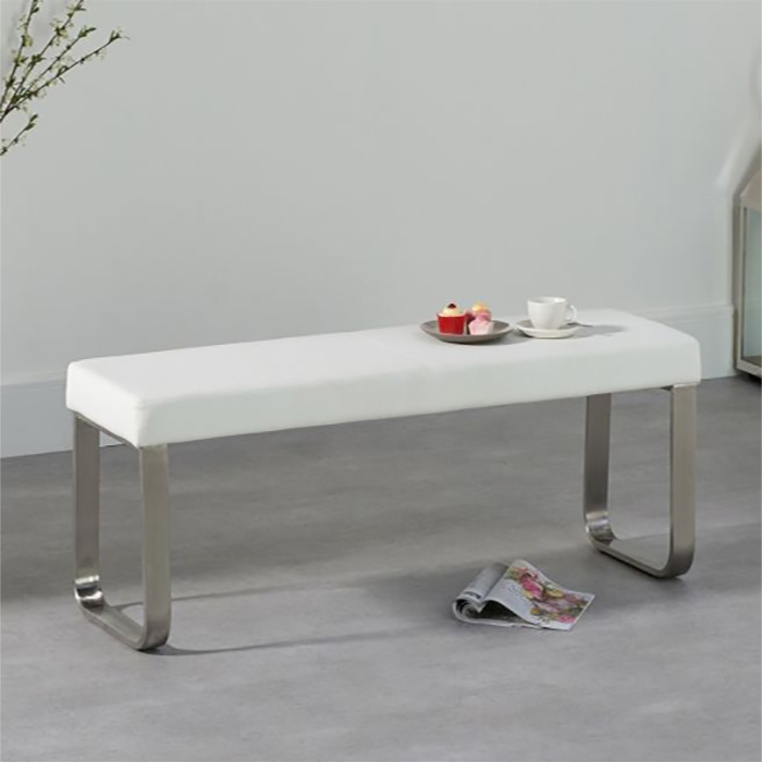 Ava White Small Faux Leather & Chrome Bench