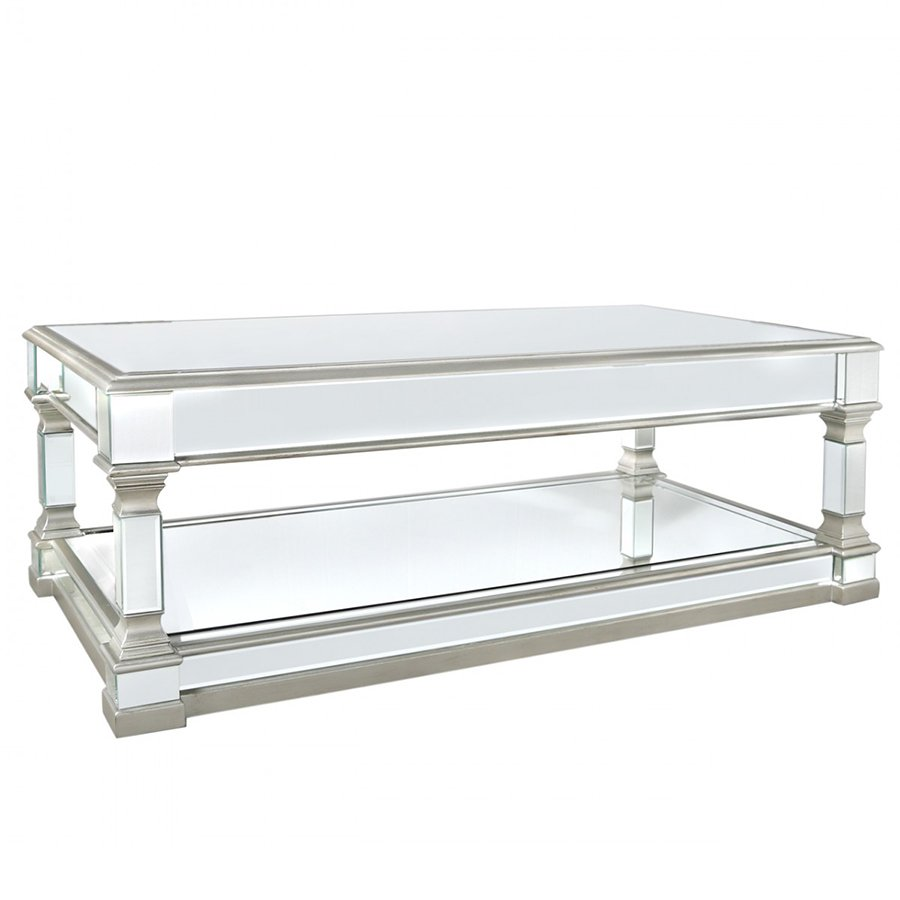 Andreas Silver Trim Mirrored Coffee Table