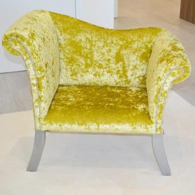 Bespoke Chartreuse Crushed Velvet Pew Chair
