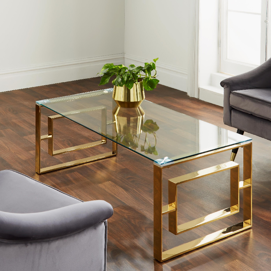 Milano Gold & Glass Coffee Table
