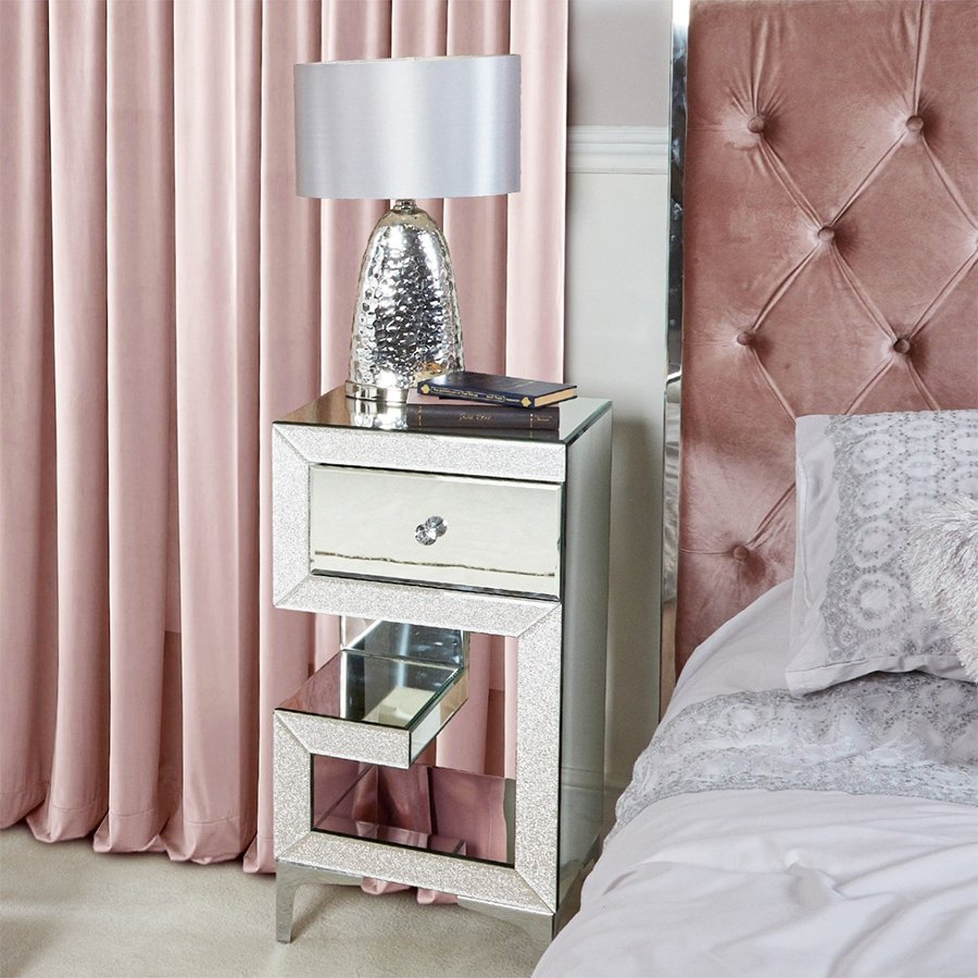 Amy Mirrored Champagne Sparkle Left Side Bedside Cabinet