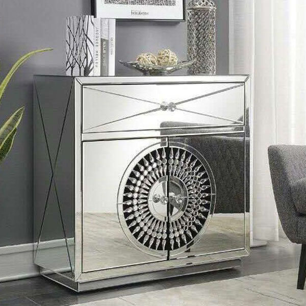 Crawford 2 Door 1 Drawer Mirrored Crystal Sideboard