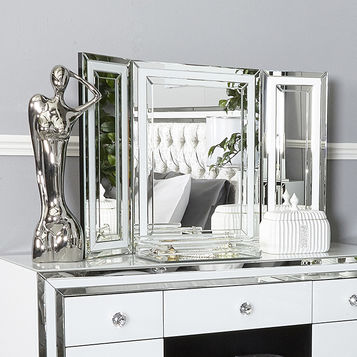Merrick White Glass & Mirrored Triple Vanity Mirror