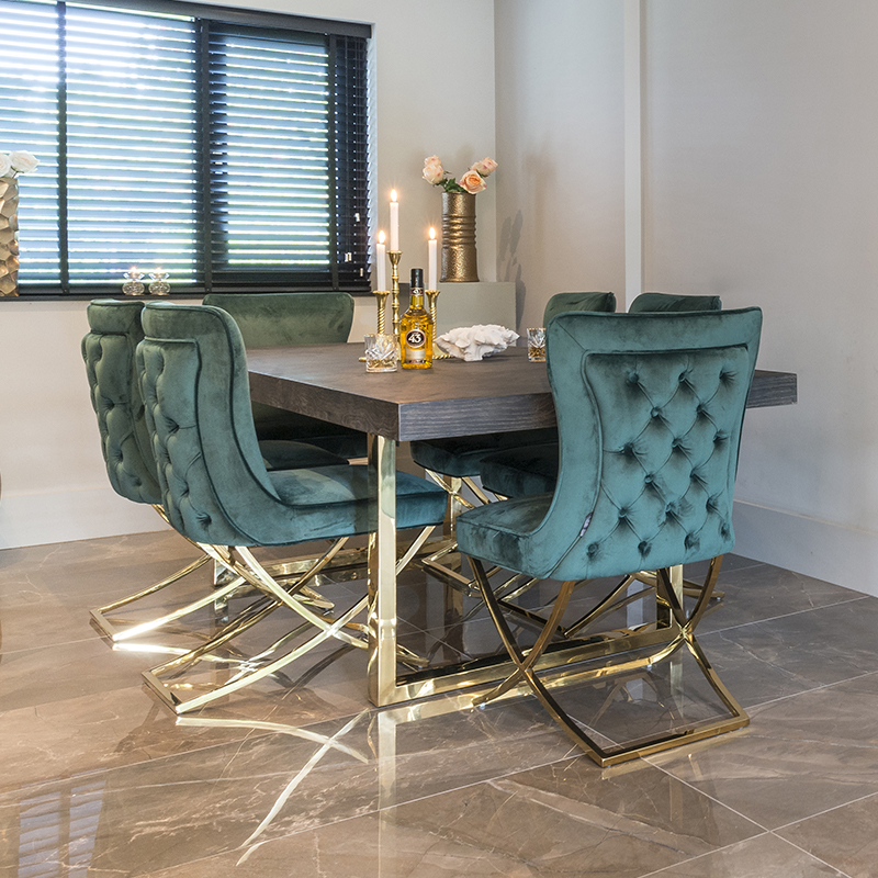 Bronwyn Wood Dining Table and Green Velvet Dining Chairs