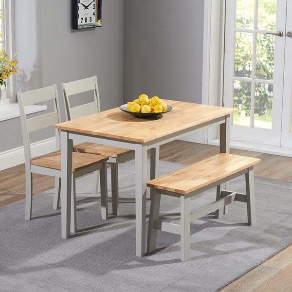 Chichester Oak Grey Painted 4 Piece 1.15m Dining Set
