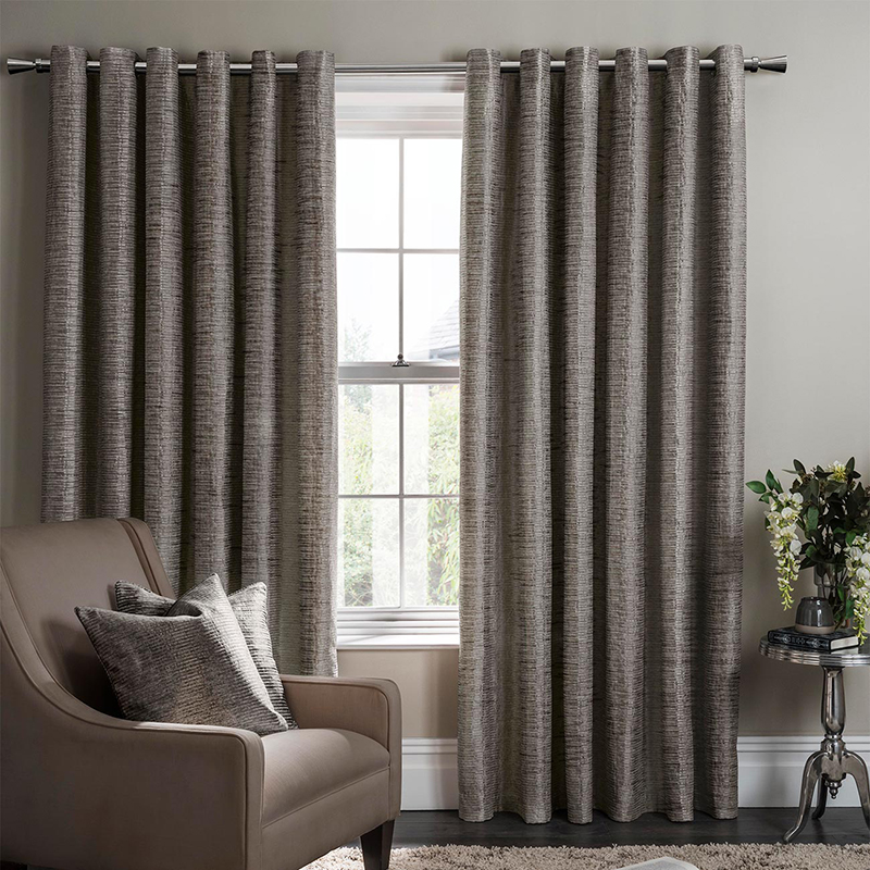 Campello Charcoal Readymade Eyelet Curtain