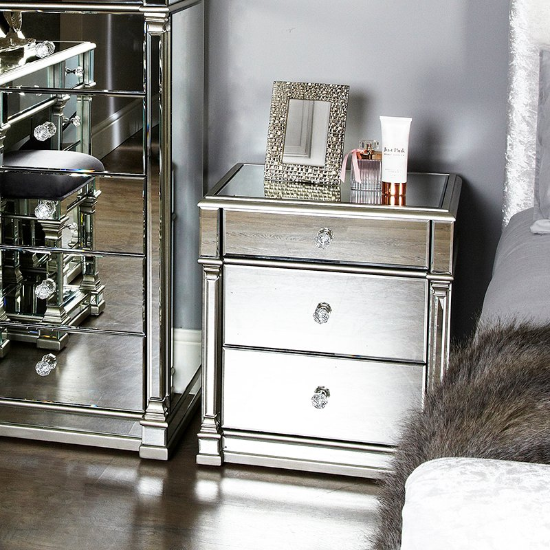 Andreas Silver Trim Mirrored 3 Drawer Bedside Cabinet