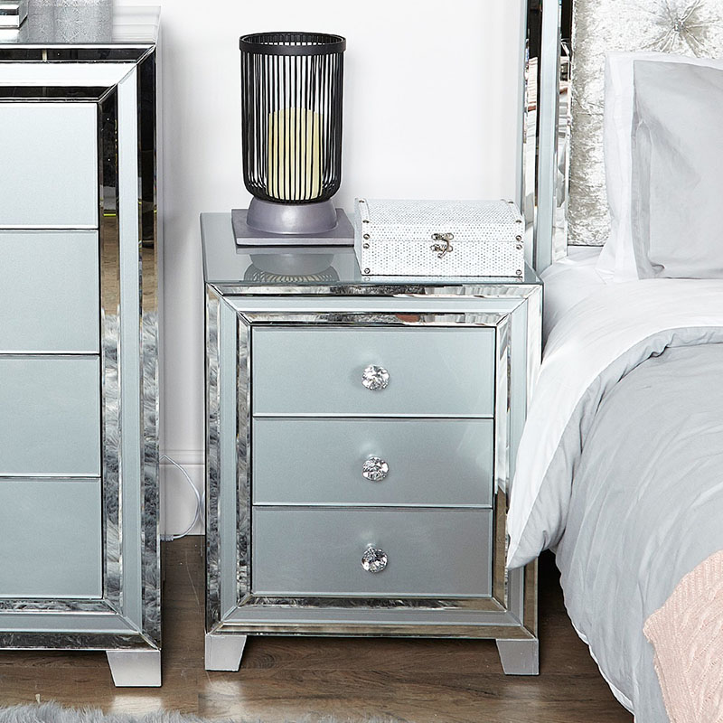 Merrick Grey Glass & Mirrored Diamante 3 Drawer Bedside Table