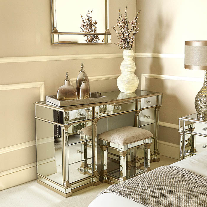 Andreas Champagne Gold Trim Mirrored 9 Drawer Dressing Table