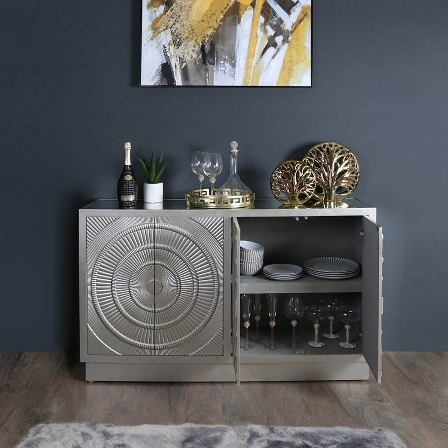 Caesar Champagne Painted 4 Door Sideboard