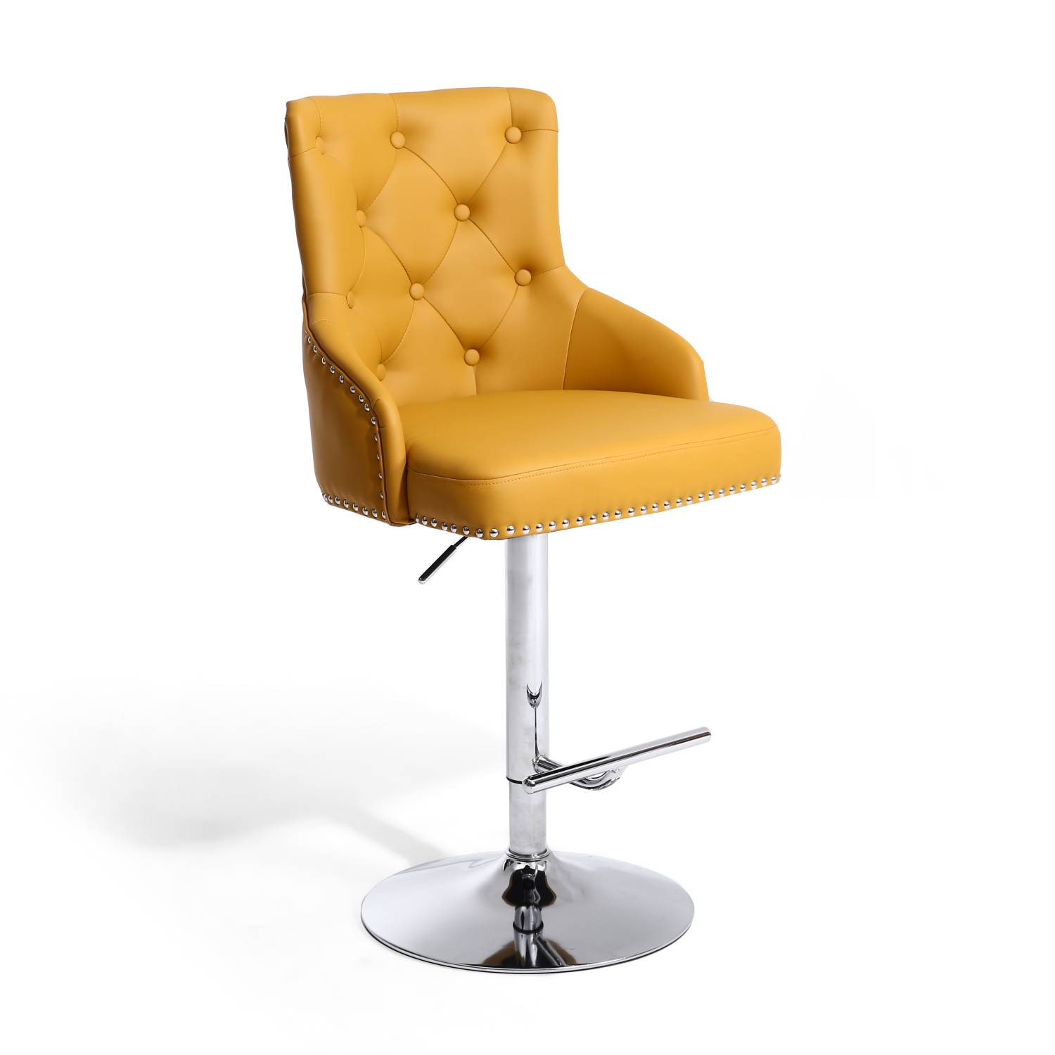 Rockley Yellow Faux Leather & Chrome Buttoned Bar Stool