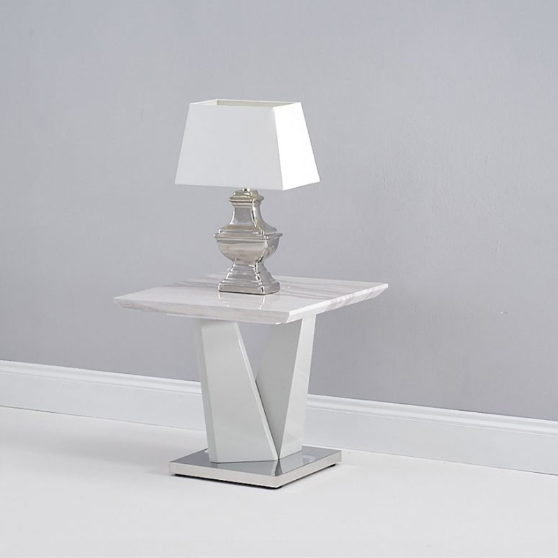 Rosario Light Grey Marble & High Gloss Lamp Table