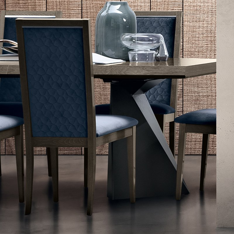Elisio ROMBI Silver Birch Blue Upholstered Dining Chair