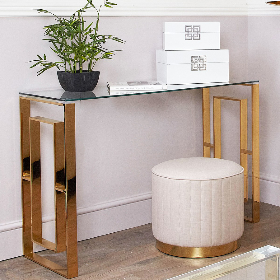 Apex Gold Metal & Glass Console Table