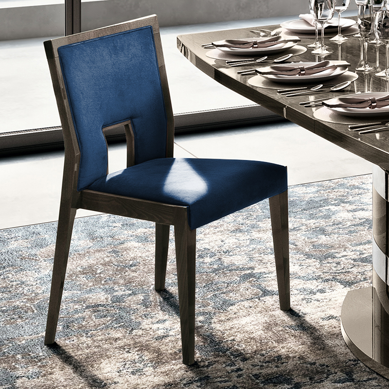 Elisio AMBRA Silver Birch Blue Upholstered Dining Chair