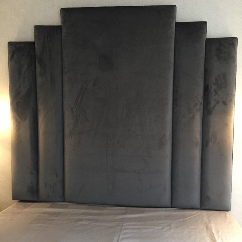Bespoke Fan Grey Velvet Headboard