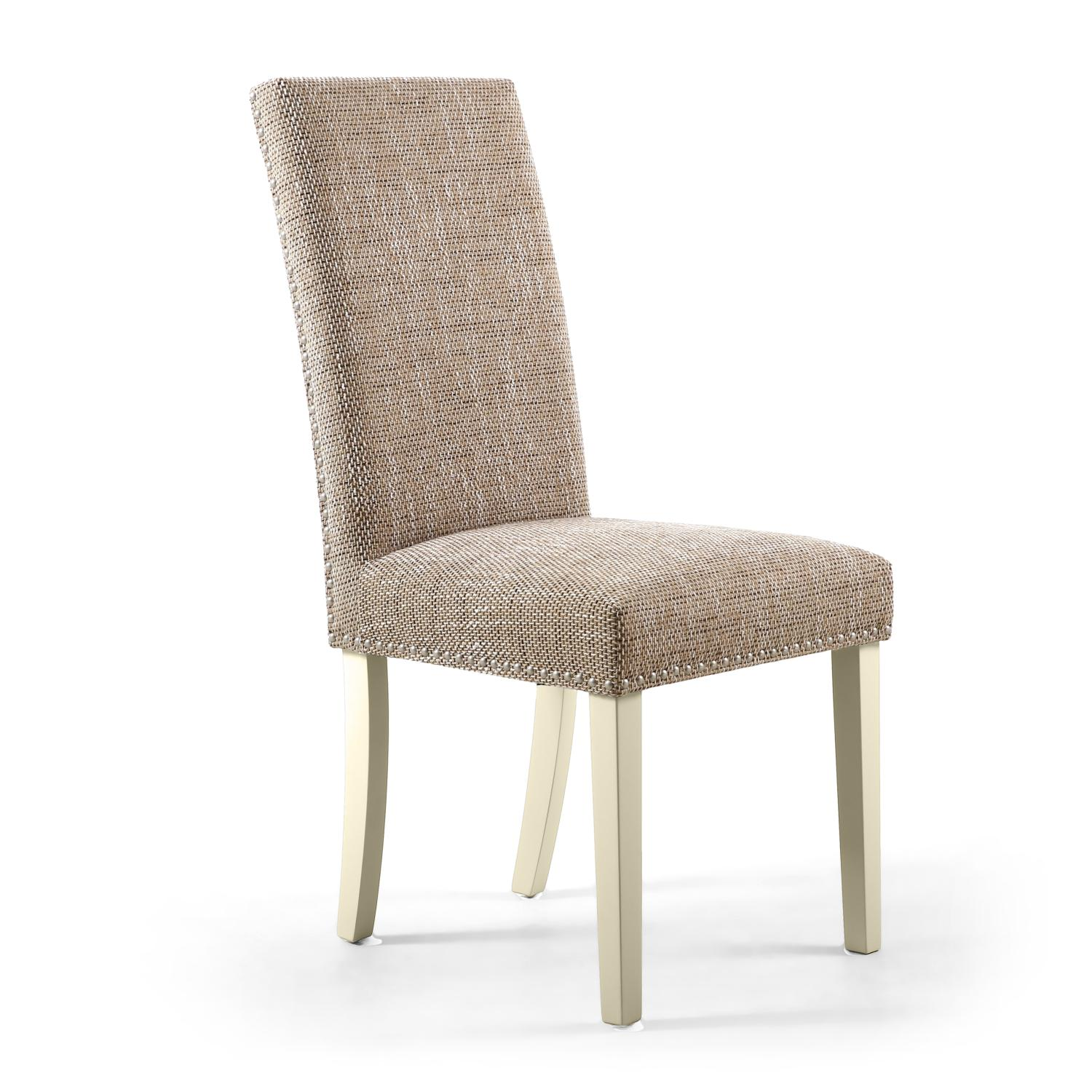 Reed Oatmeal Tweed Studded Dining Chair (Cream Legs)