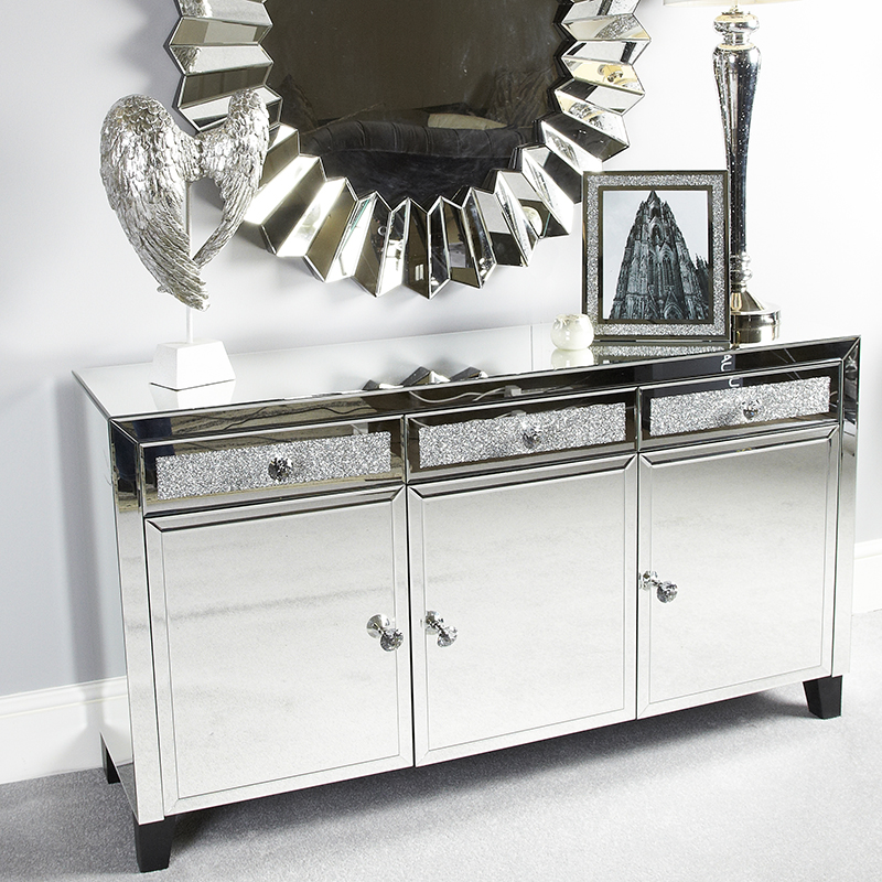 Madorra Mirrored Diamante 3 Drawer 3 Door Sideboard