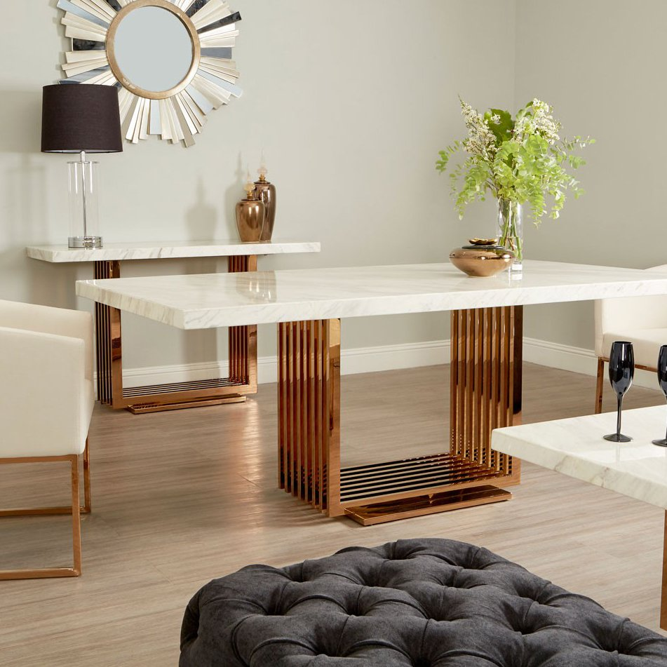 Moda White Marble & Rose Gold 2m Dining Table