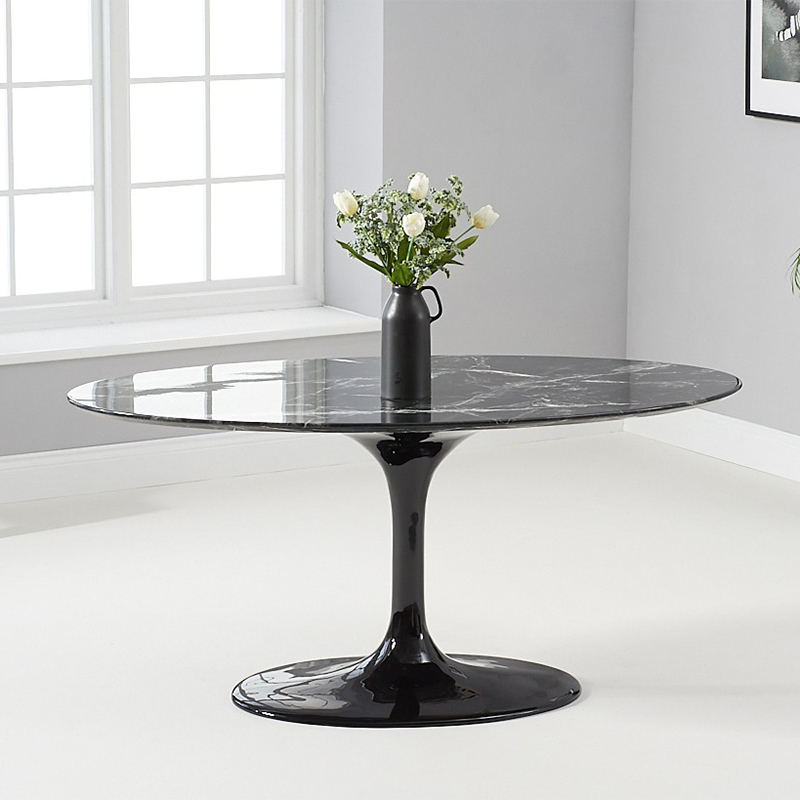 Brittney 1.6m Oval Black Marble Dining Table