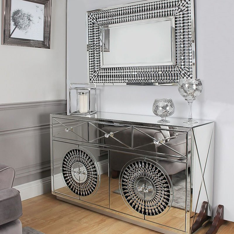 Crawford 4 Door 3 Drawer Mirrored Crystal Sideboard With Rectangular Mirror