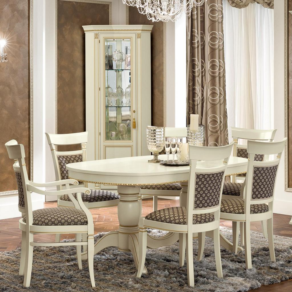 Treviso Ornate Ivory Ash Wood 7 Piece 1.6-2.4m Oval Extending Table Set