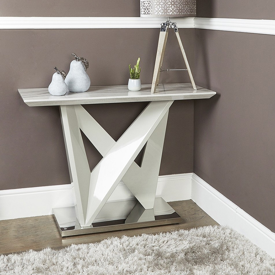 Alabra Marble & Stainless Steel Console Table