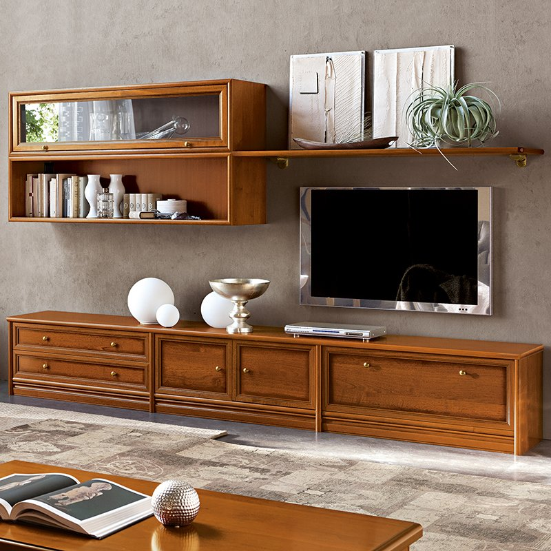 Natalia Walnut Shelving & TV Unit Composition 3