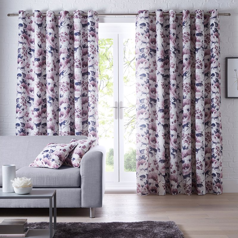 Casey Heather Floral Readymade Eyelet Curtain