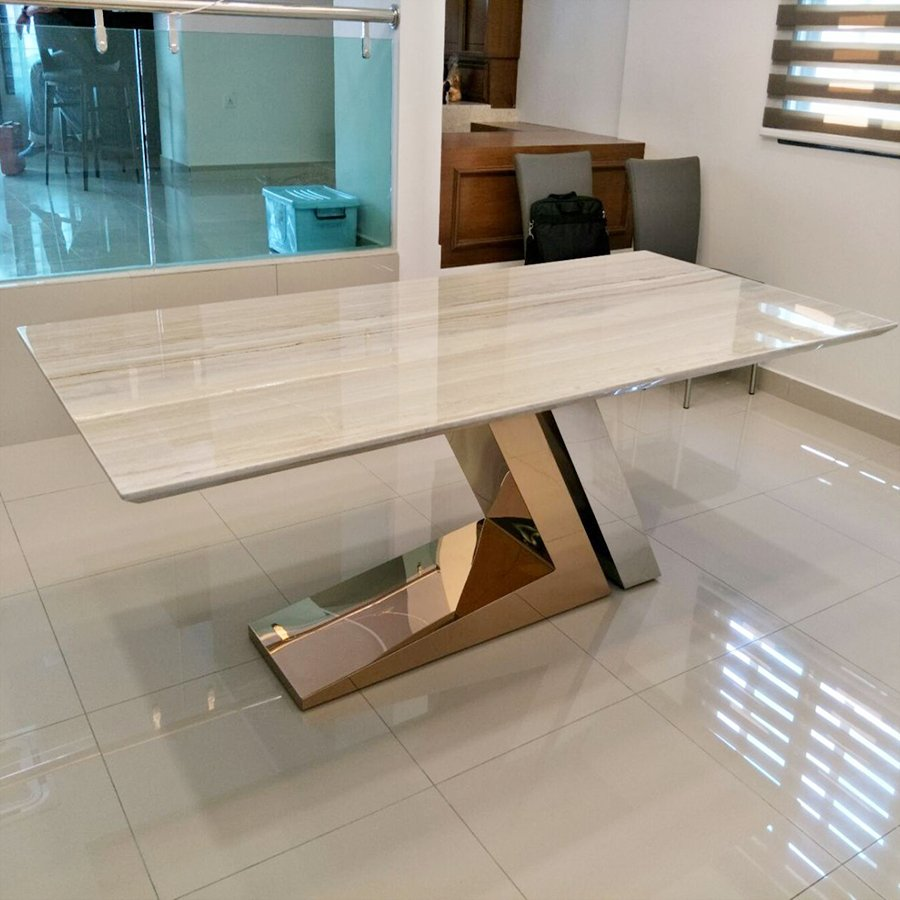 Palissandro Grey Marble 1.8m Dining Table - Lexus Rose Gold Base