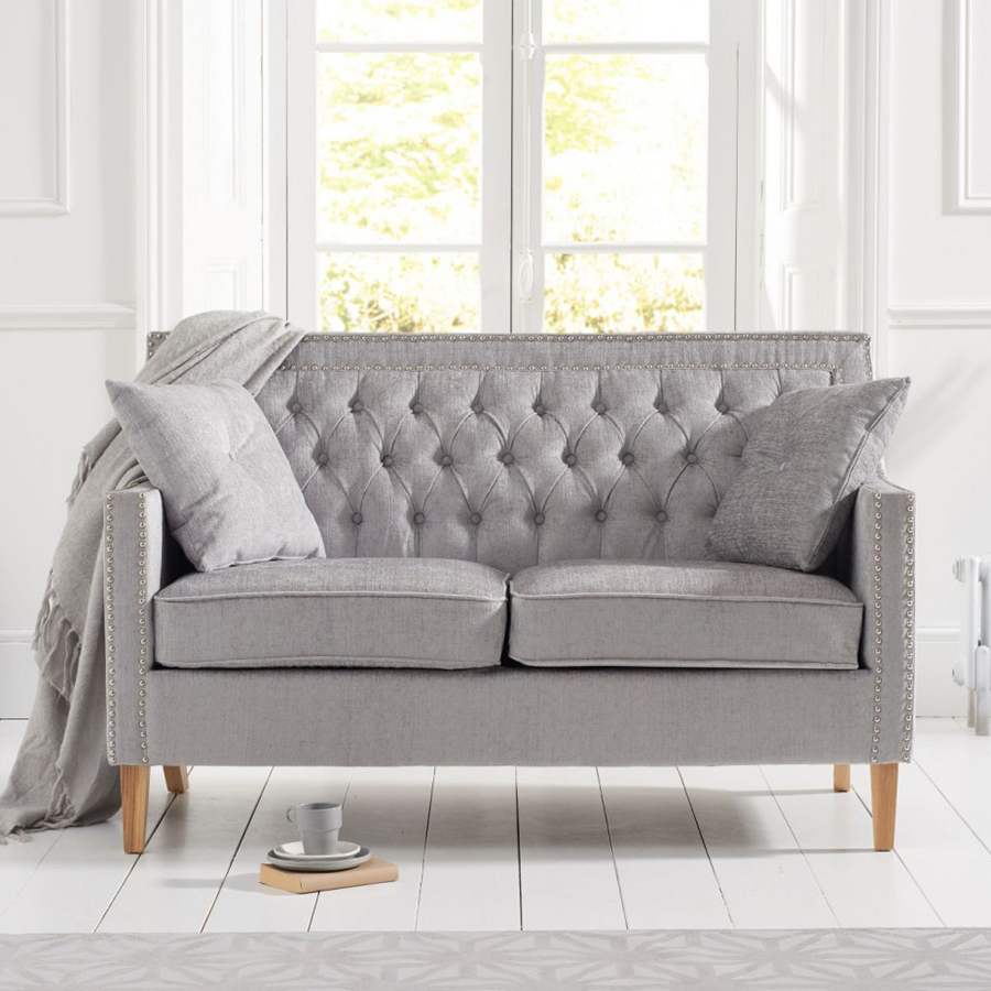 Casa Bella Grey Plush Studded & Buttoned 2 Seater Sofa