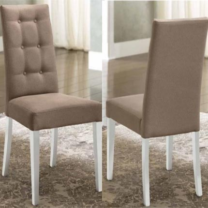 Bianca White High Gloss & Fabric Buttoned Dining Chair