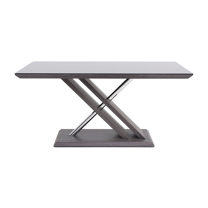 Xavi Rectangular Black Glass & Walnut 1.6m Dining Table