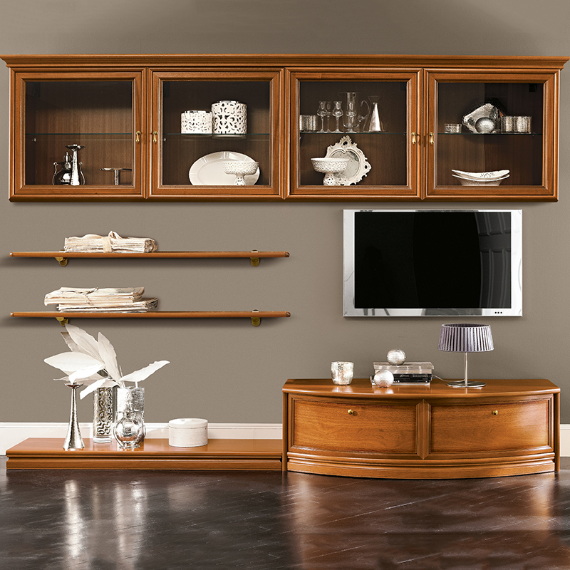 Natalia Walnut Shelving & TV Unit Composition 9