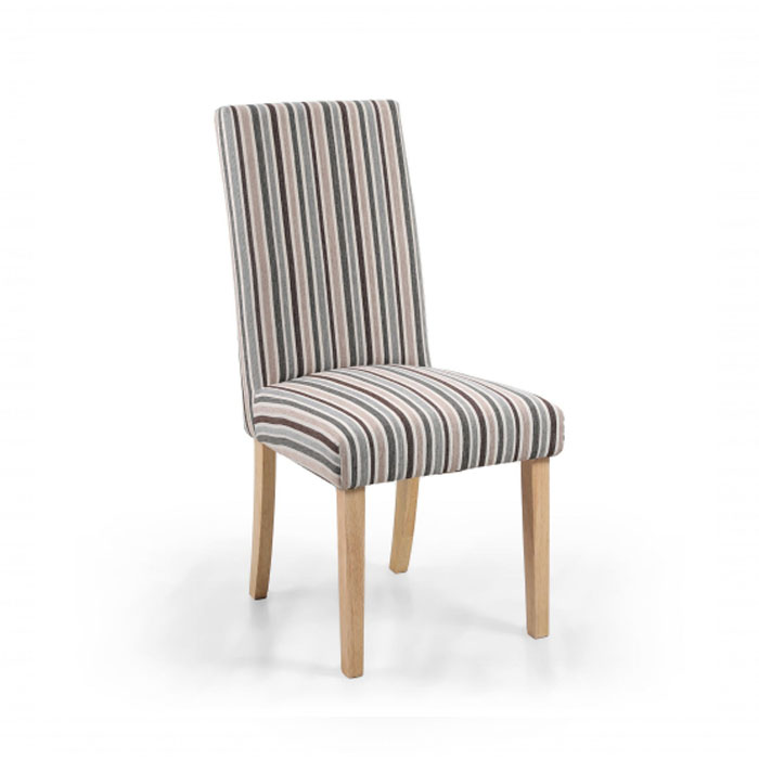 Rey Duck Egg Chenille Stripe Dining Chair (Natural Legs)