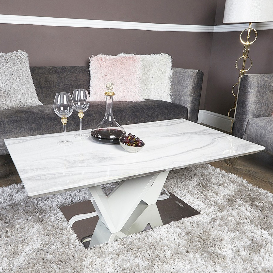 Alabra Marble & Stainless Steel Coffee Table