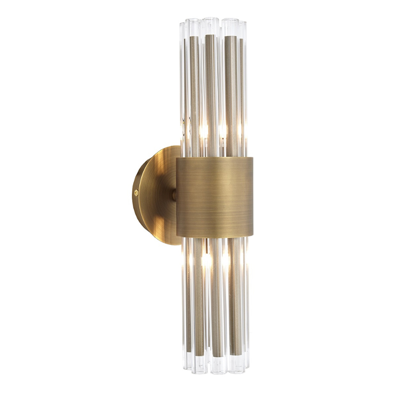 Colmar Antique Brass Crystal Wall Light