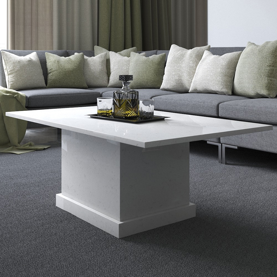 Athena Ammonite Carrara Quartz Coffee Table