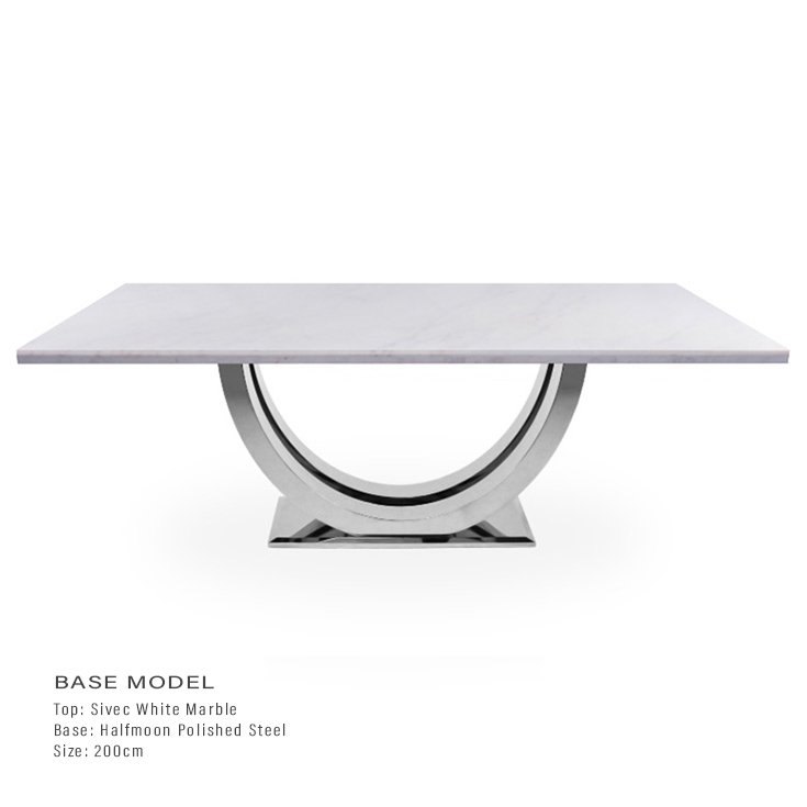Sivec White Marble 2m Dining Table - Halfmoon Chrome Base