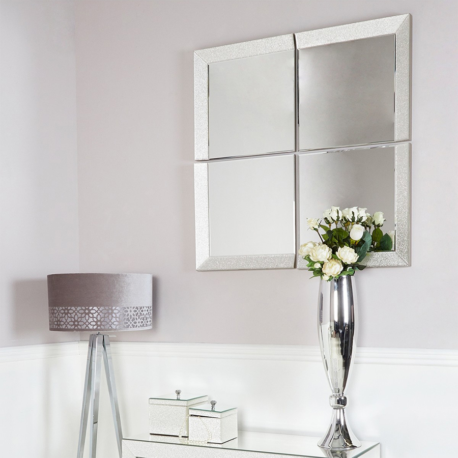 Amy Mirrored Champagne Sparkle Quad Mirror Set