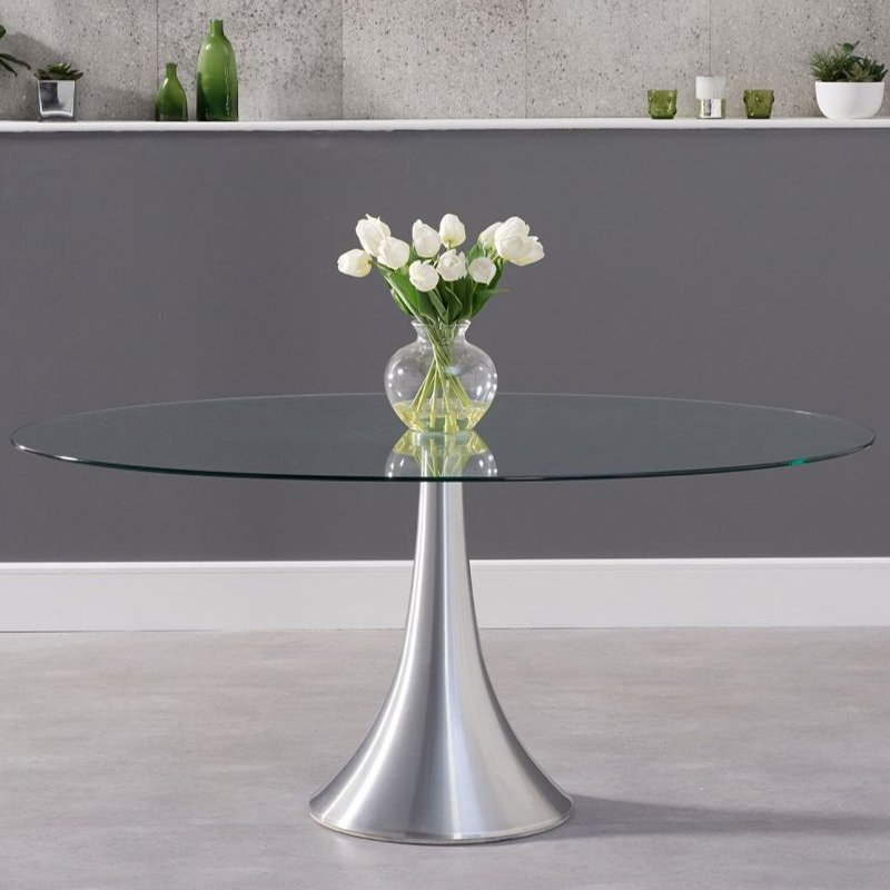 Pria Glass & Chrome Oval 1.8m Dining Table