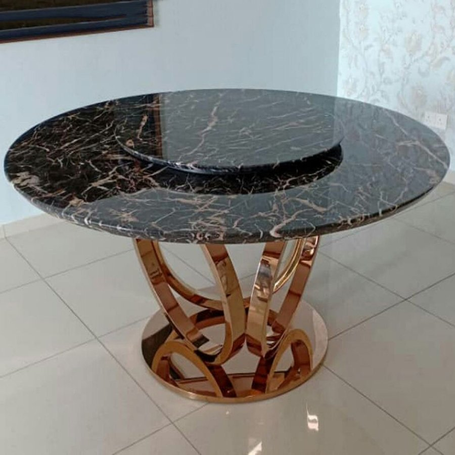 Marrone Brown Marble 1.5m Lazy Susan Dining Table - Macaron Rose Gold Base