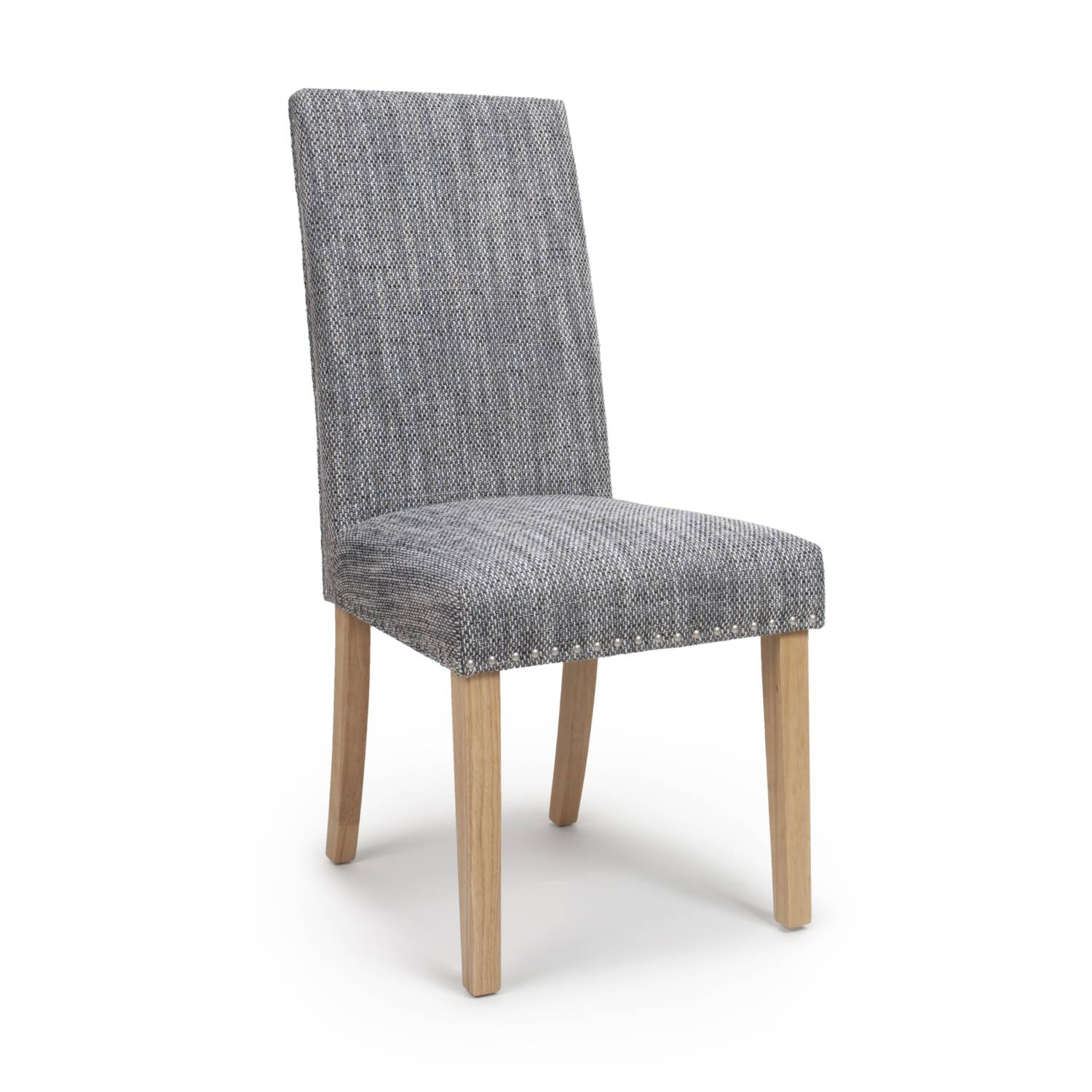 Reed Grey Tweed Studded Dining Chair (Natural Legs)