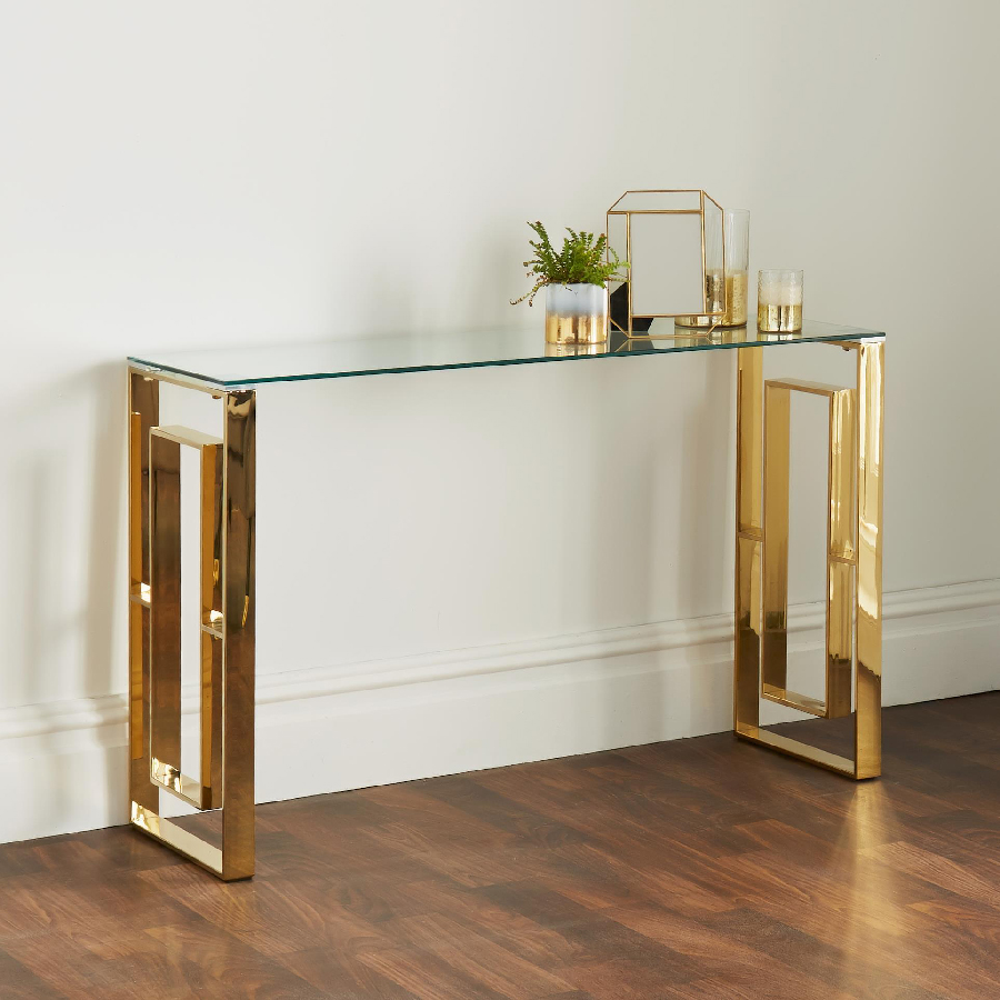 Milano Gold & Glass Console Table
