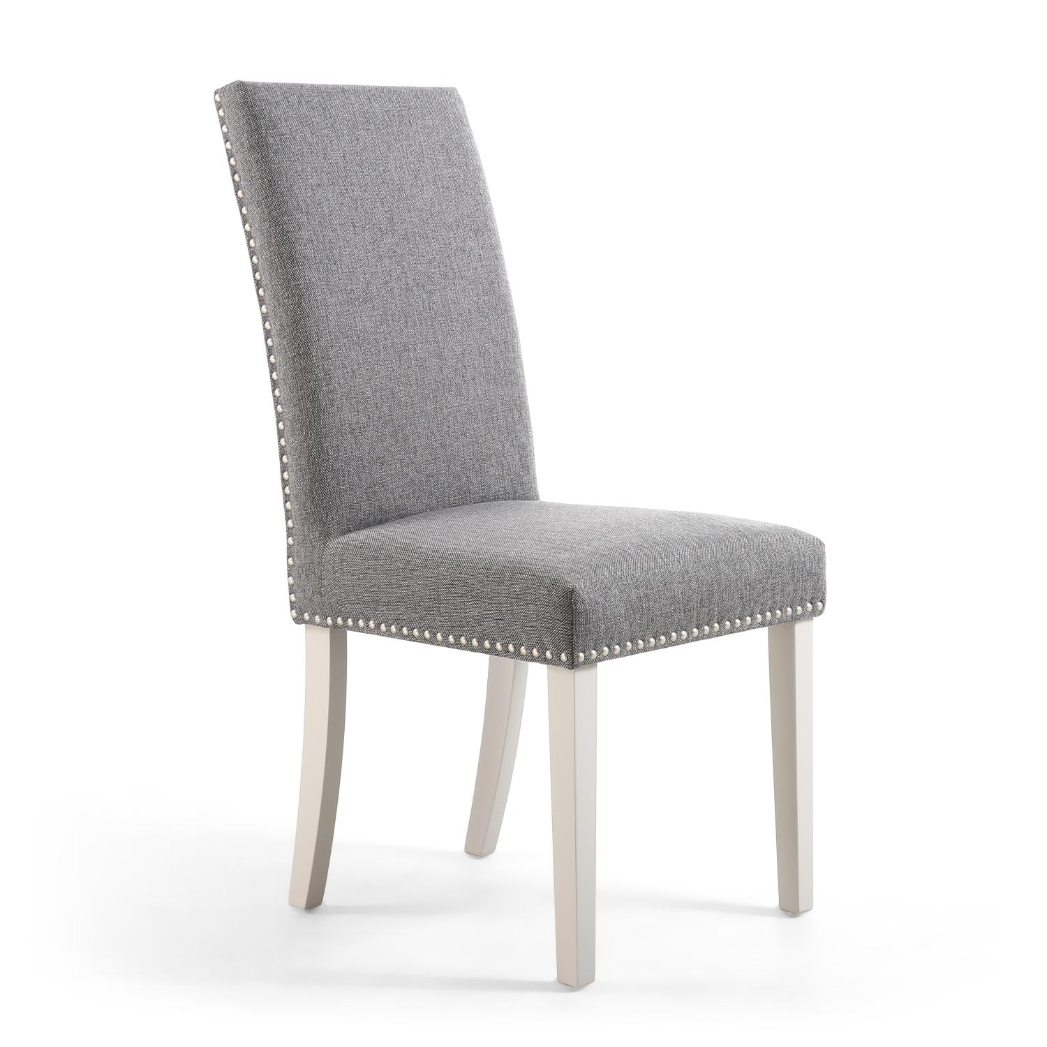 Reed Steel Grey Linen Studded Dining Chair (Grey Legs)