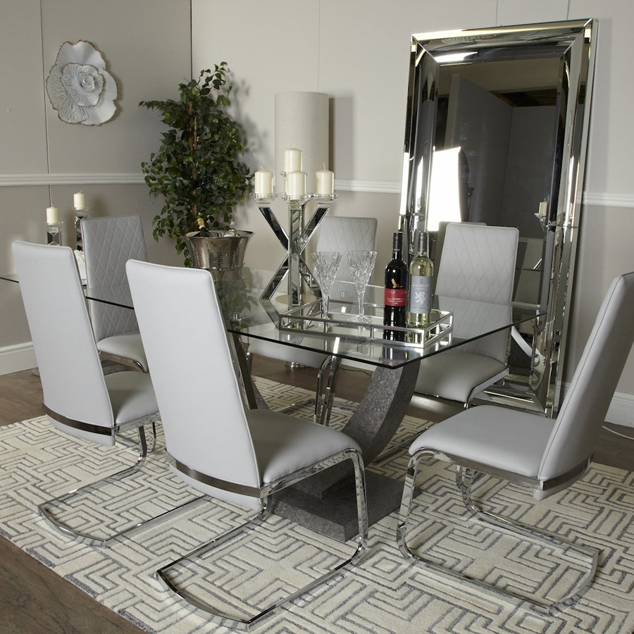 Lex Glass & Stone 1.7m 7 Piece Dining Table Set