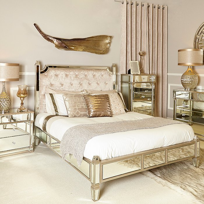Andreas Champagne Gold Trim Mirrored 5ft King Size Bed