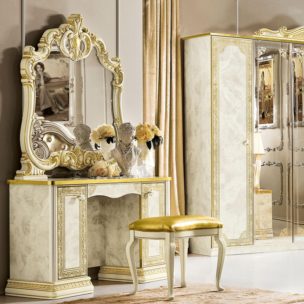Varazze Ivory High Gloss & Gold Leaf Dressing Table