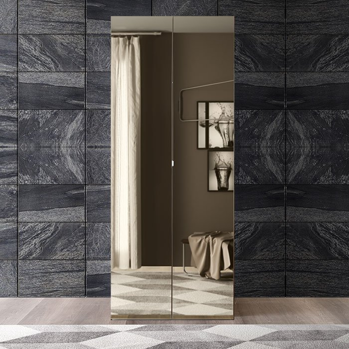 Sicily Elm Wood Mirrored Wardrobe (Various Sizes)
