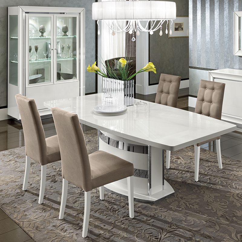 Bianca White High Gloss Extending 1.6m-2.05m Dining Table